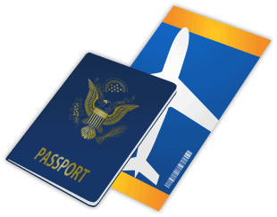 כרטיס טיסה ודרכון